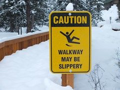 Only when they're cleared... (benlarhome) Tags: canada sign warning alberta lakelouise slippery