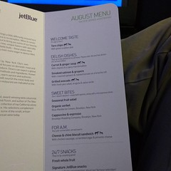 The menu for tonight's flight. The grilled avocado looks interesting.