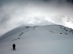 """Descending to Camp 3 with The Knife in cloud behind • <a style=""""font-size:0.8em;"""" href=""""http://www.flickr.com/photos/41849531@N04/20431030276/"""" target=""""_blank"""">View on Flickr</a>"""