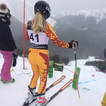 Katrina Voss (VST/Hemlock) in the start at Nakiska FIS DH March 2017