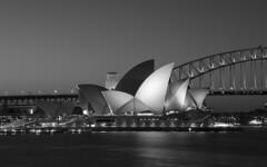 sydney opera house & half bridge (Greg Rohan) Tags: sunset icon harbourbridge sydneyoperahouse blackandwhite monochrome architecture d7200 2017 sydney bw opera