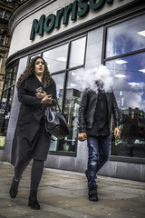 He's got his head in the clouds (tootdood) Tags: canon70d fromthehip streetcandid candid piccadilly manchester head cloud ecig vapour