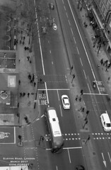 Euston Road, London. March 2017 (Nanouf1973) Tags: london traffic street bus cars road british library st pancras euston above black white aerial look left hotel city town capital busy travel tourism corner junction intersection lights lane crossing