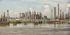Such a strange forest (erichudson78) Tags: usa louisiana mississippi river fleuve canoneos5d canonef70300mmf456lisusm smoke fumée ciel sky nuages clouds eau water industry industrie cheminée chimney refinery raffinerie