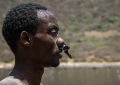 Borana tribe man with protection in his nose ready to dive in the volcano crater to collect salt, Oromia, El Sod, Ethiopia (Eric Lafforgue) Tags: adult africa african blackpeople borana colourpicture country crater danger dangerous day developingcountry elsod ethiopia ethiopia0317050 ethiopian ethnic extinctvolcano hardwork head headshot horizontal hornofafrica lake maturemen men naturalphenomenon onemanonly oneperson oromia oromo oromya outdoors protection realpeople resources saline salt saltlake sideview sod toxic tribe volcanic volcano water worker