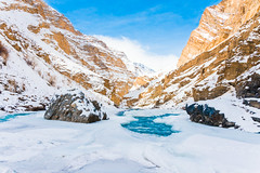 The Beginning (Sid's Corner) Tags: green mountains valley ladakh leh india incredibleindia northindia chadar chadartrek river zanskar zanskarriver frozenriver ice snow snowscape snowcapped blue water freeze frozen trek landscapes landscape nature natureaddict nationalgeographic ngc flickraward nikon nikond800 schoksi schoksiphotography scenery mountain yellow bluesky