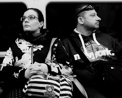 Look the other way (phil anker) Tags: street poeple mono london tube underground passenger fujix70