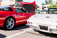 Cars and Coffee! HSS! (Stealth Tramp) Tags: red white reflection cars meetup 1966 polarizer corvette sliders hss carsandcoffee