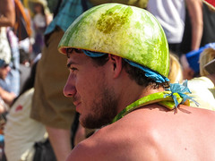 watermelon man (matthewtylerG) Tags: pink shirtless portrait man green hat weird candid crowd sunny watermelon bizarre