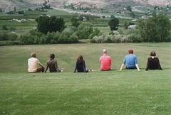 hill sitting (gunstreet.girl) Tags: film sarah 35mm jesse landscape oliver pentax kodak kristina steph iain churchstate kodakgc200 chrisverral
