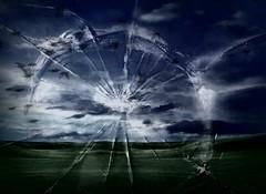 Shattered (Shelby's Trail) Tags: sky texture broken glass birds monitor hss eightdaysaweek twtme sliderssunday