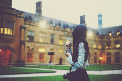 Waiting for Twilight (Amanda Mabel) Tags: portrait sky college vintage hair lights evening spring twilight nikon university dusk side faceless lamps quadrangle denimjacket universityofsydney mandytan amandamabel amandamabelphotography mandyfaithinstagram mandyfaith