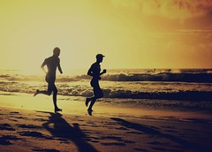 Silhouette Beach Runners (missgeok) Tags: lighting morning male beach colors beautiful backlight composition sunrise spectacular golden lightandshadows amazing sand energy waves mood colours dynamic angle artistic action horizon sydney creative silhouettes australia running excercise backlit jogging goodmorning jog