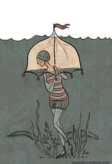 Illustration Friday: Underwater (tanaudel) Tags: art girl illustration pen ink umbrella vintage underwater bell drawing diving retro illustrationfriday eel swimsuit