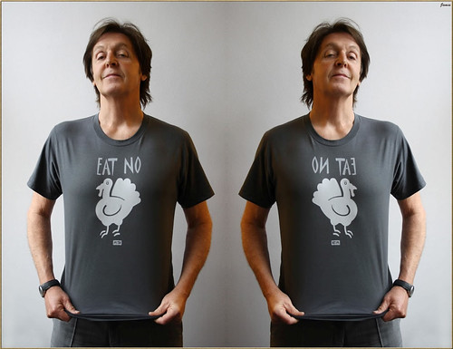 Paul McCartney Eat No Turkey Gooble Gooble Double Flipped Mirror Image Photograph framed by James