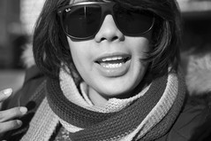 P (Adriano Attolico) Tags: portrait bw white black smile lady scarf asian blackwhite nikon filipina philippin d90
