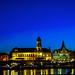 Dresden, Altstadt, Skyline kurz nach Sonnenuntergang