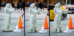 Angels Among Us (Triptych) (Andy Marfia) Tags: christmas street xmas winter orange chicago cold statue angel holidays triptych traffic loop cone praying performer 55200mm f48 1200sec iso900 d7100