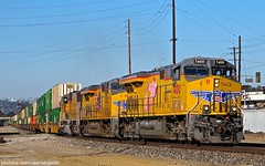 Union Pacific 7400 (singwith) Tags: railroad pink los pacific angeles union trains double stack container ribbon intermodal gevo 7400 latc zlcai