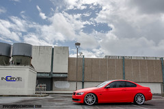 Matte Red BMW 335i | IC-S10 (Incurve Wheels) Tags: red cars shot florida miami south wheels deep twin wrapped wrap turbo bmw carbon fiber m3 rims lowered rolling matte concave customs slammed hre e90 preferred vossen asanti lexani incurve e92 335i adv1 e93 stanced ics10