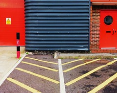Centenary 3: Chevron (teaselbrush) Tags: road park city uk red england urban abstract black geometric lines yellow architecture brighton industrial estate geometry stripes hove angles business impermanence british markings centenary hollingdean