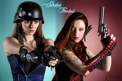 Sucker Punched: Skye and Cherry (FightGuy Photography) Tags: dangerous gun lace helmet redhead armor weapon pistol blonde vest revolver colt45 suckerpunched canon7d