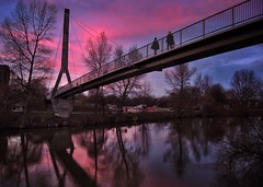 Footbridge (Mike Ashton) Tags: bridge pink sunset river nikon shropshire footbridge severn shrewsbury p7700 uploaded:by=flickrmobile flickriosapp:filter=nofilter