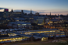 Bright lights and the City (Sadloafer) Tags: uk building horizontal architecture outdoors photography cityscape exterior sheffield citylife aerialview illuminated crowded southyorkshire traveldestinations colourimage sadloafer hansdavisphotography nightnopeople