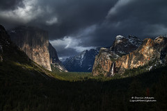 Contrasts - Yosemite National Park (Darvin Atkeson) Tags: california winter snow storm mountains fall clouds contrast landscape waterfall carved nationalpark spring nevada canyon sierra glacier yosemite vista bridalveil tunnelview darvin atkeson darv liquidmoonlightcom lynneal