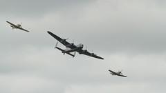 Battle of Britain Memorial Flight 1422 (Thorbard) Tags: history vintage aircraft transport overcast aeroplane historic airshow lancaster spitfire huricane battleofbritainmemorialflight sigma100300mmf4exdghsm riat2013 markxvispitfire