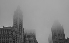 Chicago, 2014 (gregorywass) Tags: city chicago building tower fog architecture michigan wrigley avenue tribune