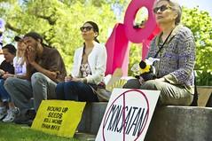 Stop Monsanto (Overpass Light Brigade) Tags: sign square bees banner joe bee milwaukee gmo monsanto catalano brusky geneticallymodifiedorganism marchagainstmonsanto