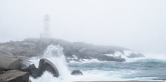 Maximum Exposure (carolina_sky) Tags: peggyscove novascotia atlantic ocean fog lighthouse rock waves spray gray grey pentaxk1 pentax2470mm moody maritime landscape panorama