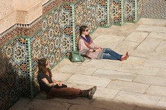 solar powered (diminoc) Tags: tiles islamicgeometry morocco marrakech madrasa madersabenyousef women sun shadow architecture streetphotography