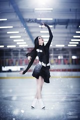 A cold night's dance (Snowgrimm) Tags: yuri yoi yurionice dance skate ice iceskate cosplay costume beauty grace graceful elegant sexy pretty black blue arena light sparkles flakes air