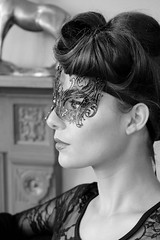 At the birdcage cafe (The Green Album) Tags: leelatikadar bridcage cafe mask ornate bw monochrome model beauty artizan hair