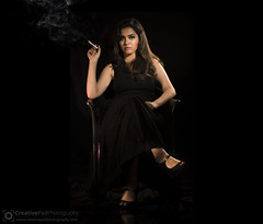 Low Key Full Body Female Smoking Photography