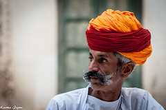 The man with the turban (karmajigme) Tags: portrait man human travel rajasthan india color