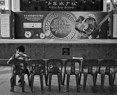 The first audience !! (-Faisal Aljunied - Bye !!) Tags: singapore chinatown stageshow audience blackandwhitestreet streetphotography ricohgr faisalaljunied