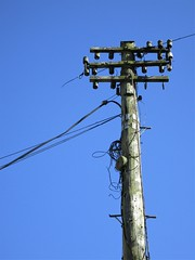 An old 'un but a good 'un (JulieK (thanks for 8 million views)) Tags: htt telegraphtuesday telegraphpole newross wexford canonixus170 bluesky lowpov vertical ireland irish insulator 117picturesin2017