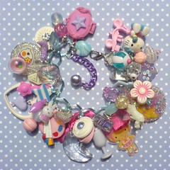 Fairy Kei Charm Bracelet (Rainbow Mermaid) Tags: pink blue baby cute glitter toys sweet handmade pastel hellokitty craft kitsch jewelry charm retro jewellery plastic lolita lilac 80s harajuku bracelet resin decora deco 1980s sparkly childish chunky loaded rainbowmermaid