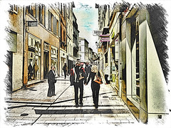 Rue des marchands (JPAR4S) Tags: street woman man france apple print sketch couple femme streetphotography rue avignon couleur homme passant iphone jpar4s