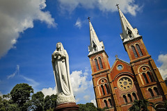 Cathdrale Notre Dame de Saigon (-clicking-) Tags: church statue architecture clouds landscape catholic faith religion peaceful architectural vietnam saigon cathedrale queenofpeace rurallandscape notredamesaigon nhthcb vietnameselandscape vngcungthnhng