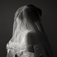 the bride /  (B&W) (mezameyo) Tags: flowers wedding white bride veil dress ceremony reception lowkey aichan