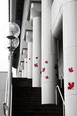 up, up, and away (redbeanicy) Tags: street red white canada black lamp vancouver stairs canon leaf maple day britishcolumbia center convention dslr ohcanada