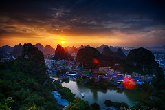 Sunset from Diecai Mountain (imvern) Tags: china travel mountain canon eos tour guilin mark hill ii chinadigitaltimes 5d usm ef hdr guangxi 2470mm diecai chinaphototours