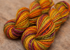 Handspun - Crunchy (davidscf) Tags: orange green wool gold purple chain yarn spinning lime fiber romney handspun fibre handspinning helloyarn plied