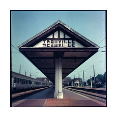 station  deauville, normandy  2013 (lem's) Tags: station rolleiflex train vintage dock fuji gare neo normandie expired normandy quai planar deauville normand trouville arhcitectire