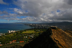 Diamond Head (CaptSpaulding) Tags: ocean sea sky water contrast canon hawaii waves hill diamondhead 30d