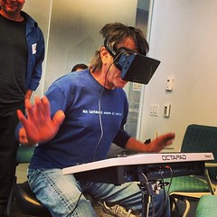 Mickey Hart using the oculus rift at UCSF (Christopher.Michel) Tags: square squareformat mayfair iphoneography instagramapp uploaded:by=instagram